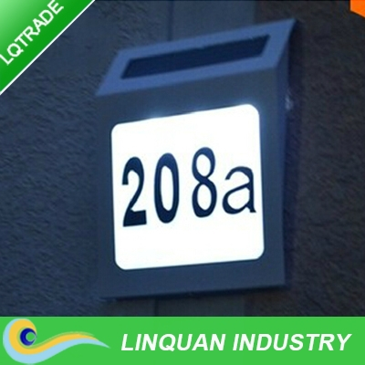 solar doorplate lamp/Stainless Steel Solar house led number plate light /garden decoration light(China (Mainland))