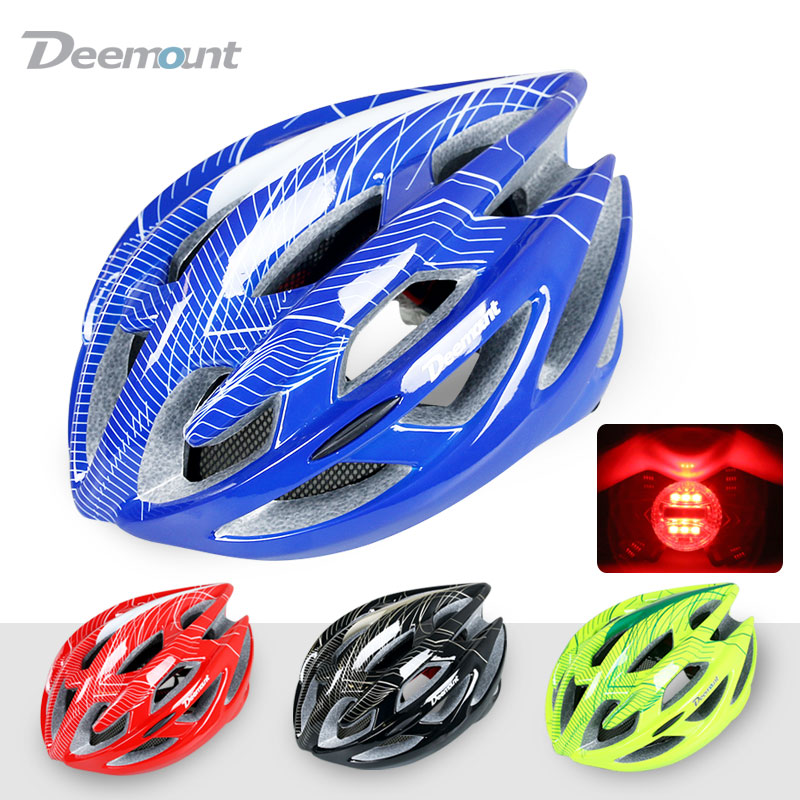 Deemount Cycling Helmet Bicycle MTB Mountain Road Biking Safety Cap In-mold 22 cavities Vents PC EPS grey foam W/ LED Light Net(China (Mainland))