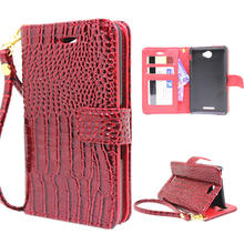 Buy 5 Styles Luxury Wallet Case Sony Xperia E4 Pouch Crocodile Leather Flip Cover Xperia E4 E2003 phone Bags Hand Strap for $4.49 in AliExpress store