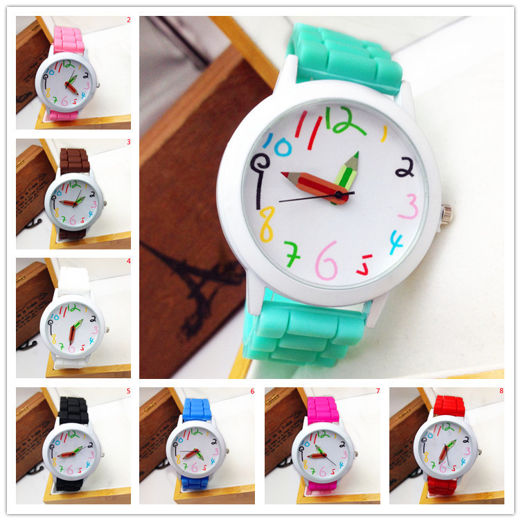 2015 Special Offer Limited Fashion Cartoon Pencil Pointer Funny Digital Silicone Watches Best Gift Women Men