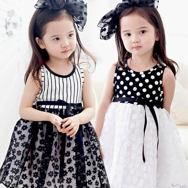 Летние новорожденных девочек платья дети девочка полосатый точка кружева ну вечеринку платье девушки детей без рукавов жилет платье