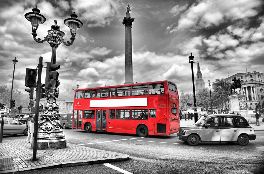 london bus decor wall art canvas vintage poster wall pictures for living room of 3 size free shipping(China (Mainland))