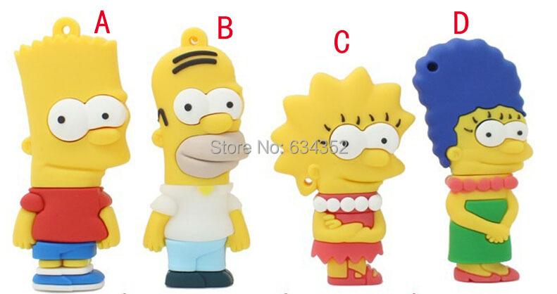 Simpson family usb flash drive cartoon usb flash drive pen drive pendrive 8g/16g/32g/64g memory stick usb stick Free shipping(China (Mainland))