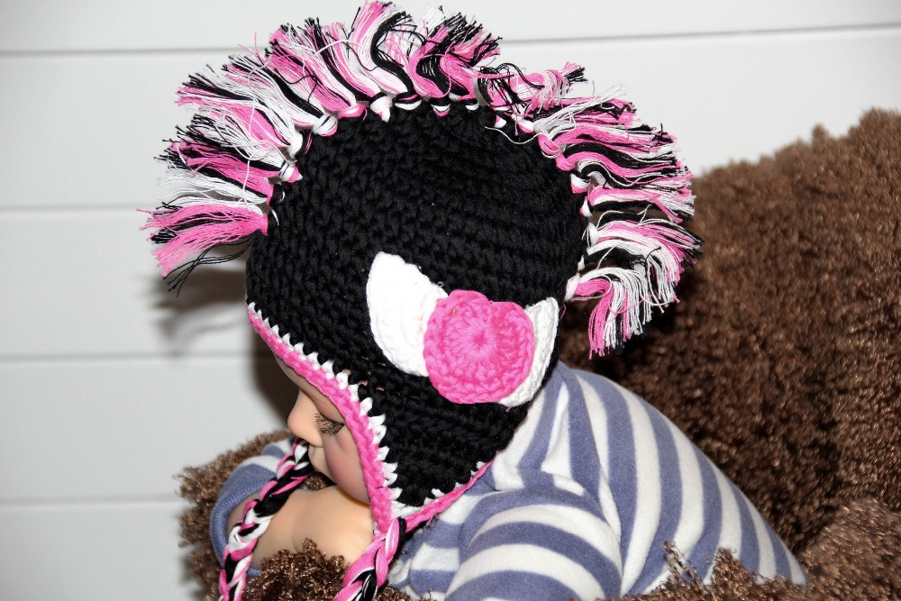 free shipping,Lovely Crochet baby Mohawk hat ,cartoon Baby Halloween Hat ,100% cotton black Punk Rock baby hat caps Photo props(China (Mainland))