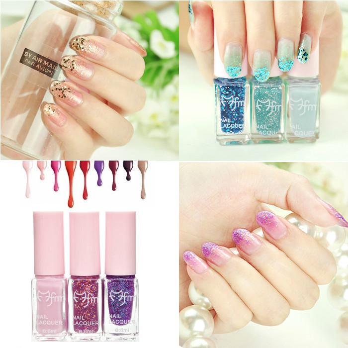 3 Bottle/Set Magic three color Gradual Change Nail art gel Nail Polish Soak Off Color Nail Glitter Varnish Nail Enamel Colorful(China (Mainland))
