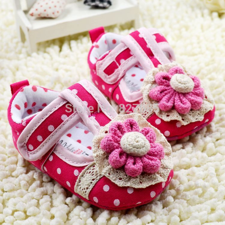 First walkers baby shoes new born crib red girl's sunflower dot bow floral soft sole hook and loop baby shoes bow summer(China (Mainland))