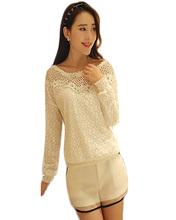2015 Spring Summer Women Fashion Lace Blouses Plus Size Shirts Casual White Chiffon Tops Camisas Blusas Renda Roupas Femininas