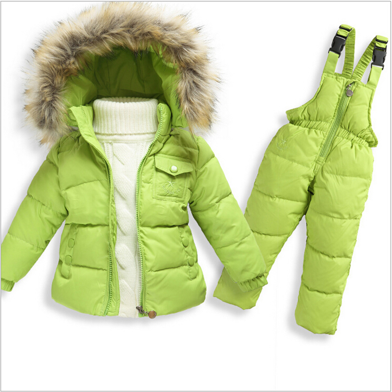 Snowsuit Baby 2015 New Infant Boys Winter Snow Wear Hooded Faux Fur Collar Toddler Girls Outwear Down Jacket Thermal Jumpsuits(China (Mainland))