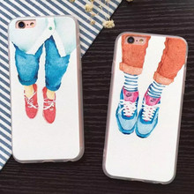 Fashion Cartoon cute character men shoes coque phone Case For iPhone 6 6s Plus 4.4 5.5 hard matte silicone Print Back Cover(China (Mainland))