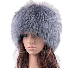 Parent-child Silver fox fur hats for women winter warm knitted beanies new fashion real fur cap elastic good quality female hat