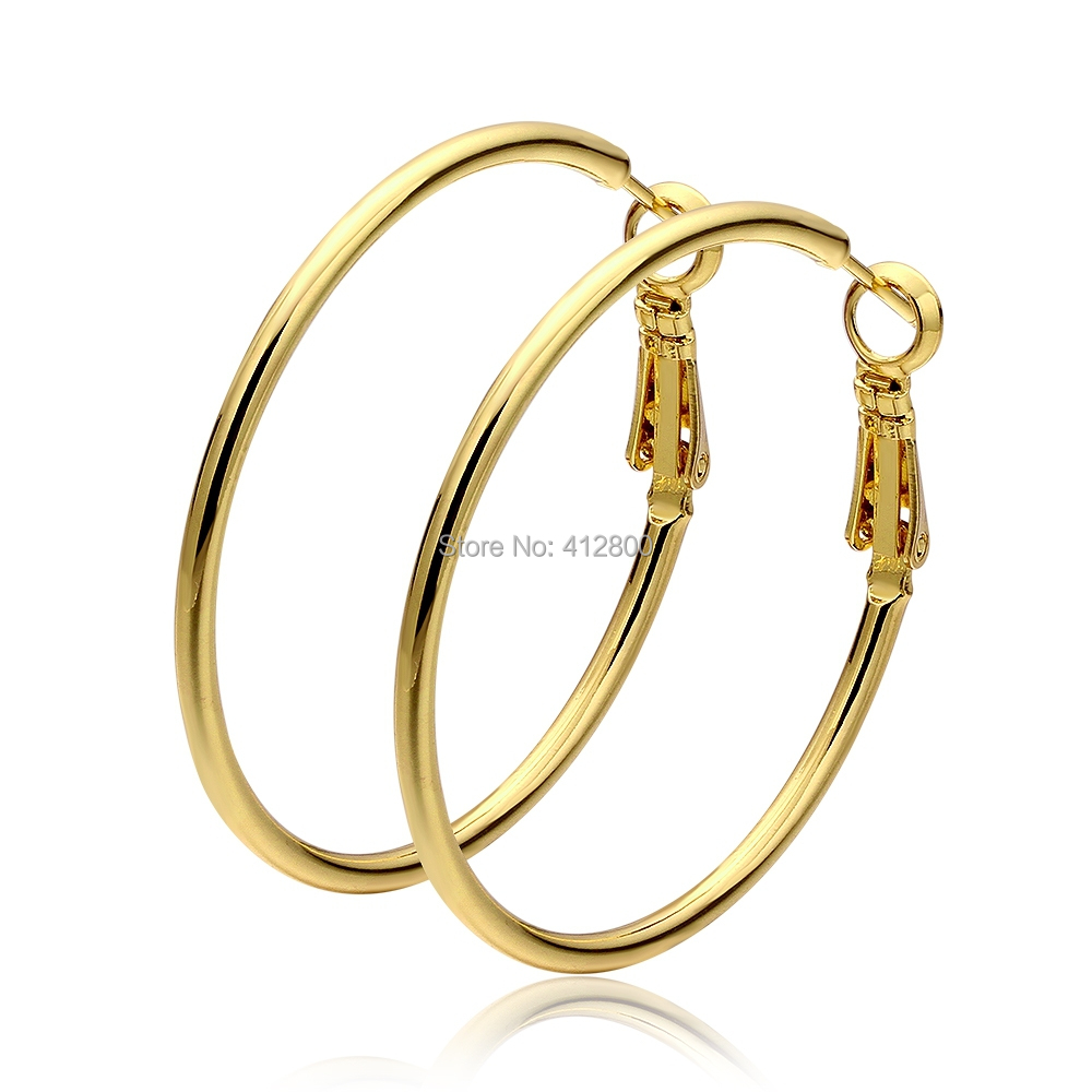 real 18k yellow gold plated fashion hoop earrings free
