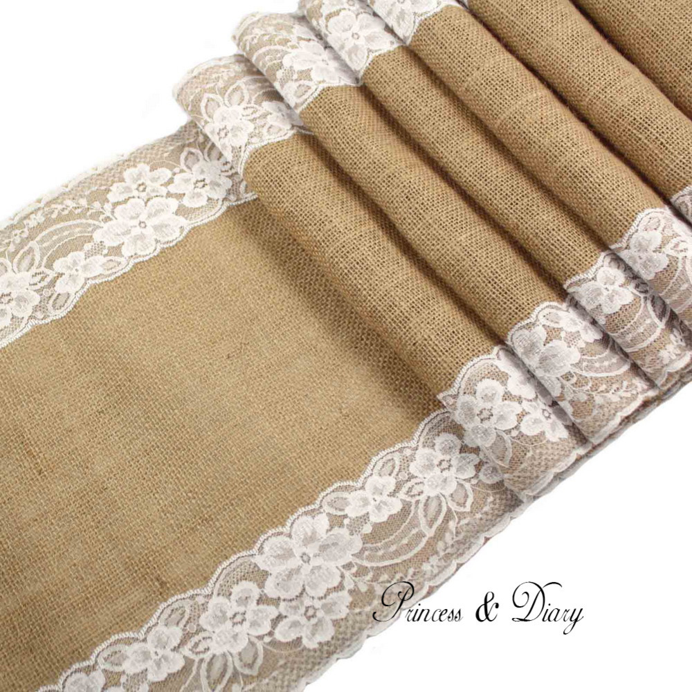 5 pieces lot Vintage Burlap Lace Hessian Table Runner Natural Jute Country Party Wedding Decoration