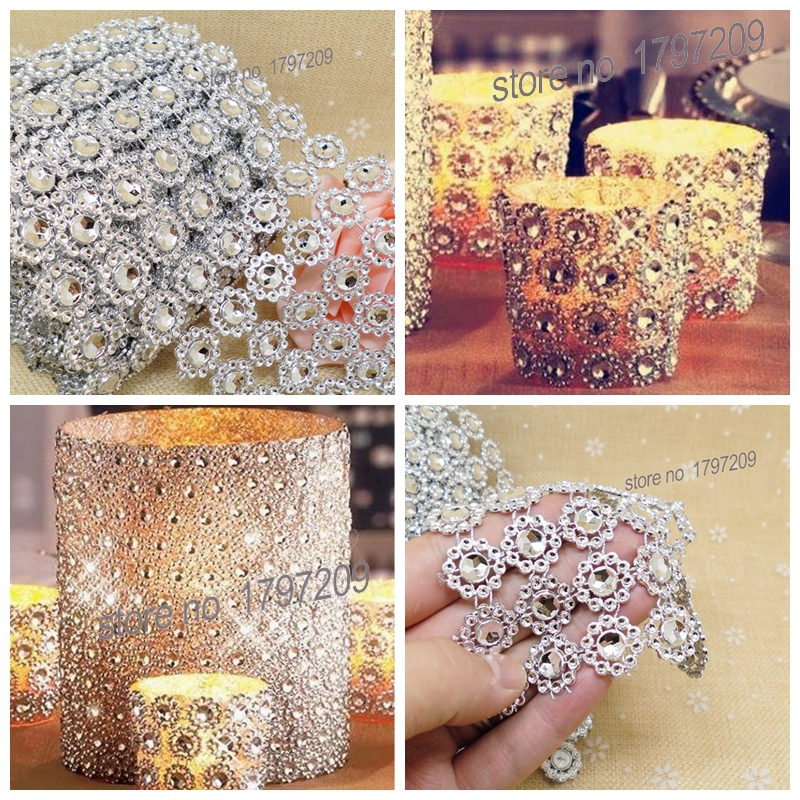 Free Shipping 3 75 X5Yards Silver Flower Diamond Mesh Rustic Wedding Centerpieces Vintage