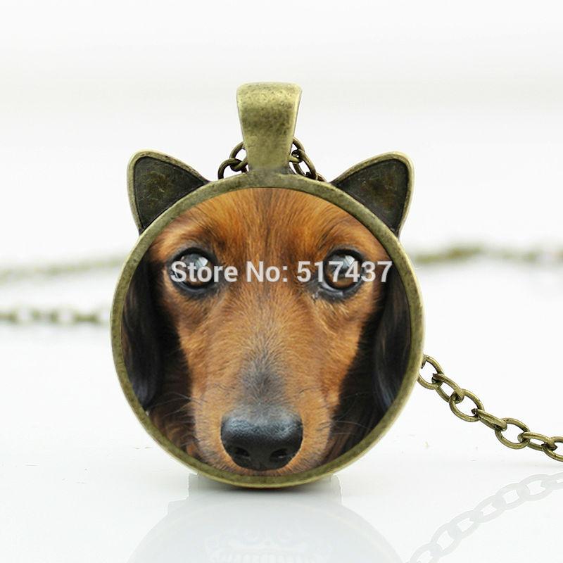2016 New Dachshund Buddy Necklace Dachshund Pendant Dog Jewelry Glass Cabochon Necklace Pendant CN-00718(China (Mainland))