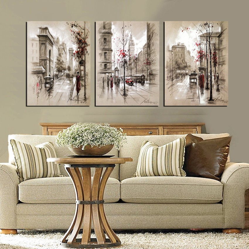 Modern Style Abstract Oil Painting Canvas Retro City Street Landscape Oil Pictures Decorative Painting Wall Art No Frame 3 Piece(China (Mainland))