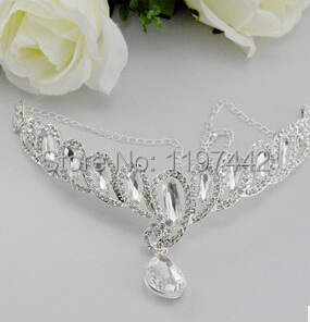 Luxury Crystal Bridal Frontlet Hair Clip Rhinestone Wedding Head Chain Crown Circlet Headband Headpieces Hair Jewelry(China (Mainland))