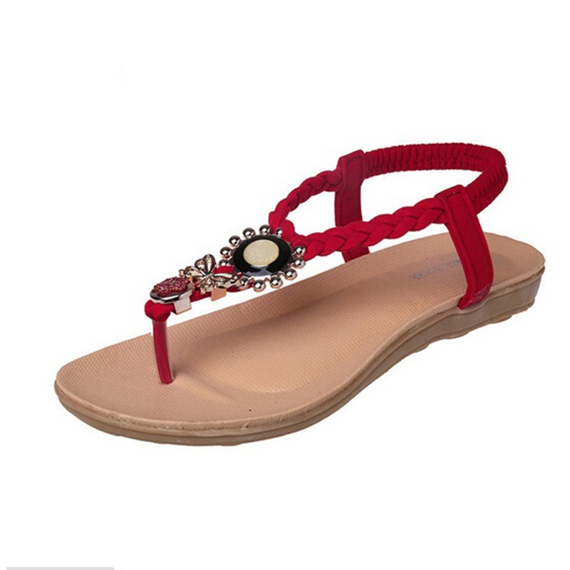 Flat sandals 2015 new Bohemia open toe flip flops women cheap sandals fashion diamonds summer style flat sandales femme(China (Mainland))