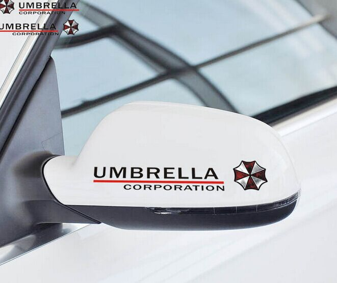 50 sets Stickers Rear View Mirror Car Reflective Umbrella Decal for Tesla Ford Chevrolet Volkswagen Honda