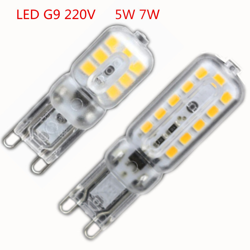 6X 2016 NEW LED G9 Light Bulb 5W 7W SMD2835 Lamparas LED Lamp G9 LED 220-240V Ampoule Luz Chandelier Lights Warm White/White(China (Mainland))