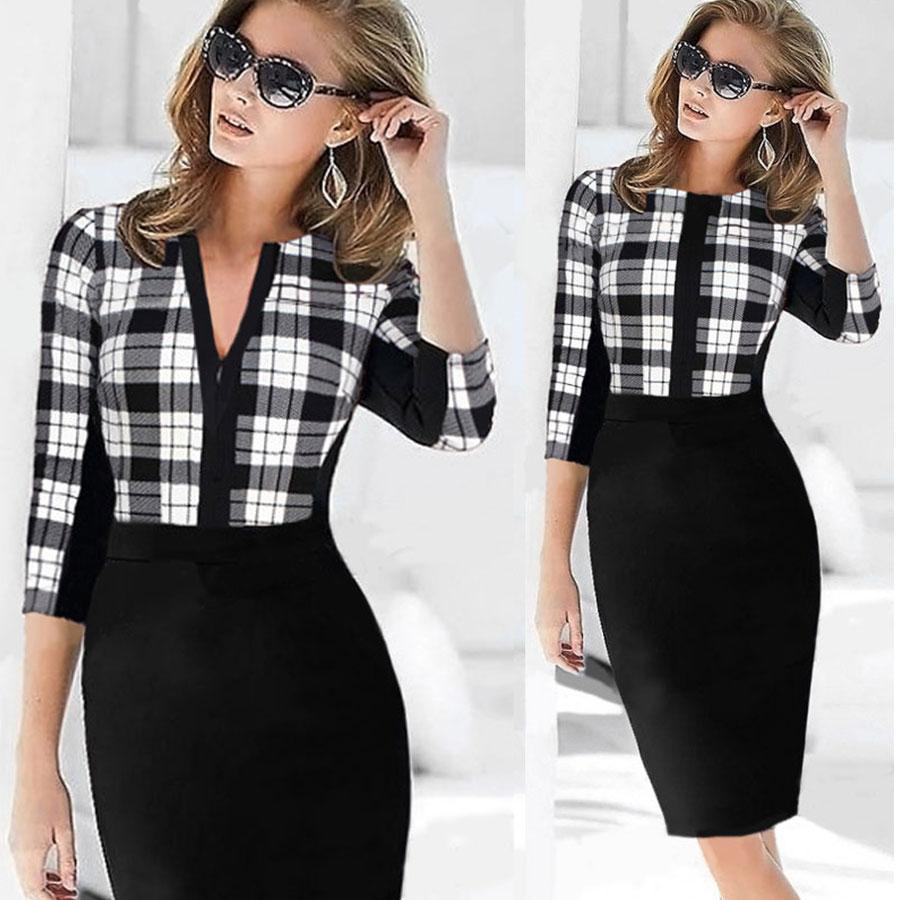 2016 Womens Elegant Black Patchwork font b Tartan b font Check Plaid Dresses OL Business Work