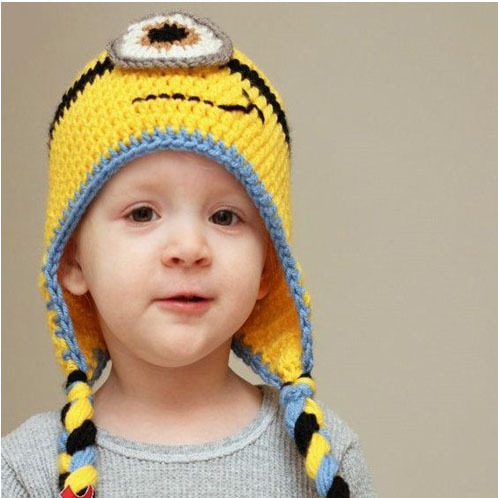 2014  Newborn Baby Cute Minions hats & caps Infant Baby knitted crochet photography props Kids Beanie(China (Mainland))