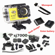 SJ7000 2.0INCH  LCD WIFI Action Camera Full HD 1080P 170 Degree Lens Underwater 30M Mini cam recorder+Extra battery +Monopod(China (Mainland))
