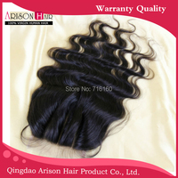 "Cheap Virgin Brazilian Wavy human Hair 8-20"" Body Wave 3.5x4"" Middle/3 Part Lace top Closure piece Bleached Knots Free shipping"