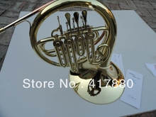 Students Bb French Horn Surface Gold Lacquer Single Row 4 Valves Bb French Horn Instrument With Case Gloves  Cleaning Cloth(China (Mainland))