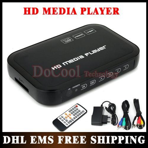 20PCS 1080P Media Player USB External HDD Media Player with HDMI VGA SD Support MKV H.264 RMVB WMV Wholesale!!(China (Mainland))