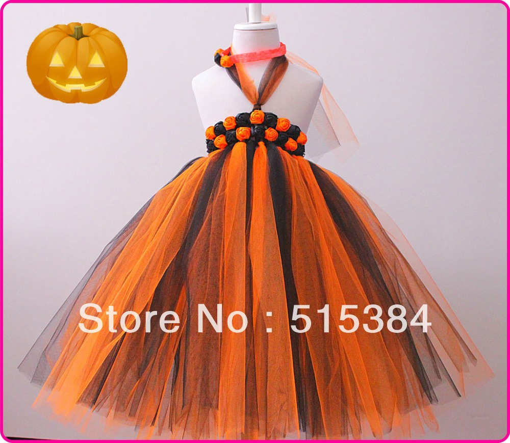 orange black tutu dress holloween long tutu dress for girls party dresses with matched headband2pcs/set free shipping(China (Mainland))