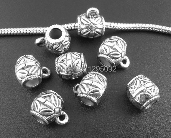 2500Pcs Wholesale Antique Silver Tone Pattern Acrylic Spacer European Beads Bails Fit Charm Snake Chain 14x10mm<br><br>Aliexpress