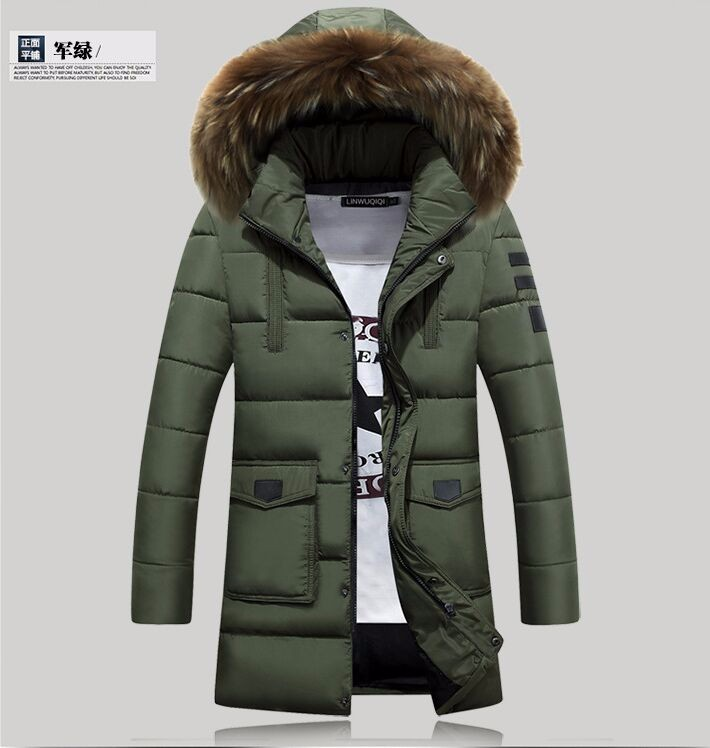Скидки на Мода 2016 Новая Зимняя Куртка Мужчины Хлопок Человек Длинный Толстый Теплый Случайные Куртка С Капюшоном Пальто зимняя куртка мужчины бесплатная доставка