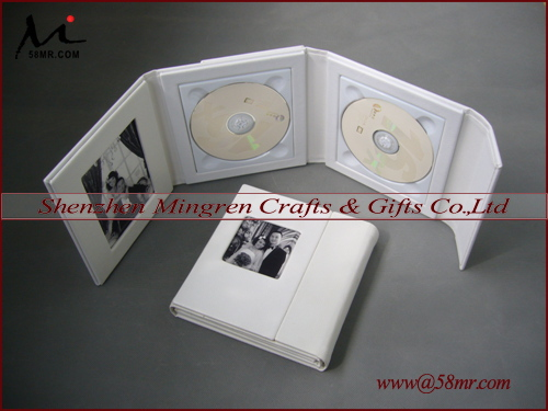 Wedding Leather CD DVD Box,White DVD Tray,2Picture,2Disc(China (Mainland))