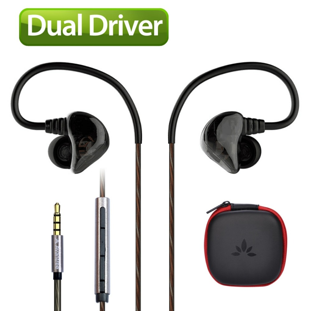Avantree DUAL DRIVER High Definition Ear Earphone Heavy Bass Sports Earbud Noise isolating headphone Mic Music Track-D18