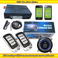 Top Quality GSM car alarm with GPS tracking,moble start remote start,push button start modes,Learning code,SMS alarm,program key