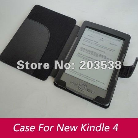 Free Shipping&Drop Shipping 10pcs/lot Kindle 4 Leather Case Leather Case Cover For Amazon Kindle 4 Case Black Color
