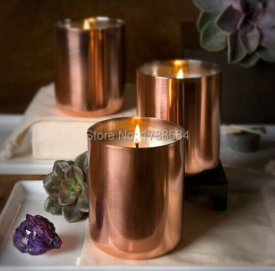 2015 new copper soy candle cup,copper plating candle holder,BRASS FINISH gold METAL CANDLE HOLDER vadka mule mug drinking cup(China (Mainland))