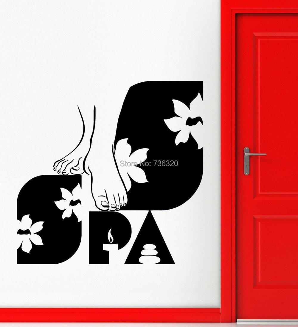 Fashiion massage shop vinyl wall decal spa beauty salon - Stickers deco salon ...