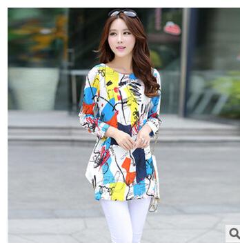 European spring 2015 new women's fashion round collar Loose big yards flower graffiti design show thin long-sleeved dress QY249(China (Mainland))