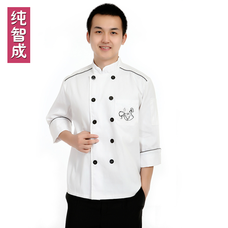 [10 pcs] Cook suit long-sleeve work wear cook suit autumn and winter work wear chef uniforms The chef coverall free ship(China (Mainland))