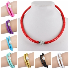 Newest Punk Crystals Button Jewelry Leather Choker Necklace Fashion For Women Men