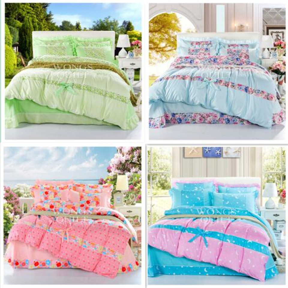 High quality home textiles Queen size bedding sets 4pcs of bed sheet comforter cover pillowcase(China (Mainland))