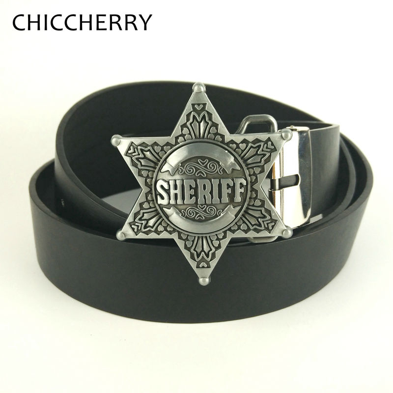 Mens casual belts cowboy style PU leather belts with Zinc alloy metal belt buckle sheriff star country western belt buckles(China (Mainland))