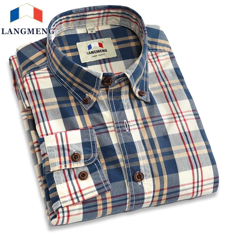 Langmeng new 2016 autumn spring mens casual shirts long sleeve 100% cotton dress shirt men retro style camiseta masculina(China (Mainland))