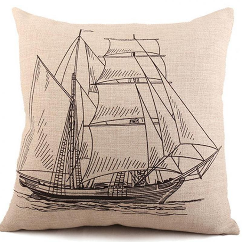 Manufacturers Direct Supply Retro Yacht Printing Linen Throw Pillow Office Chair Seat Backrest Cushion Wholesale(China (Mainland))
