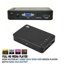 HDMI USB External HDD Media Player HDMI/VGA Audio output HD1080p SD/U Disk Muiltmedia player with power adapter(China (Mainland))