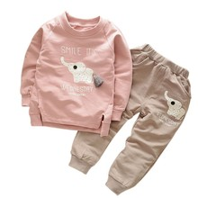 Buy Kids Clothes 2017 Autumn/Winter Baby Boys Girls Cartoon Elephant Cotton Set Children Clothing Sets Child T-Shirt+Pants Suit for $7.46 in AliExpress store