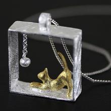 Стерлингового Серебра 925 Cat Ожерелье Серебряная Цепочка kitty Ожерелья & Подвески для женщин девушки Ювелирные Изделия Collares 2015 colar(China (Mainland))