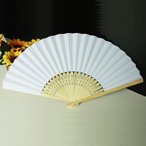(23 ) white paper hand fan 21cm natural bamboo ribs party decoration DIY Painting - Kaifeng arts and crafts store