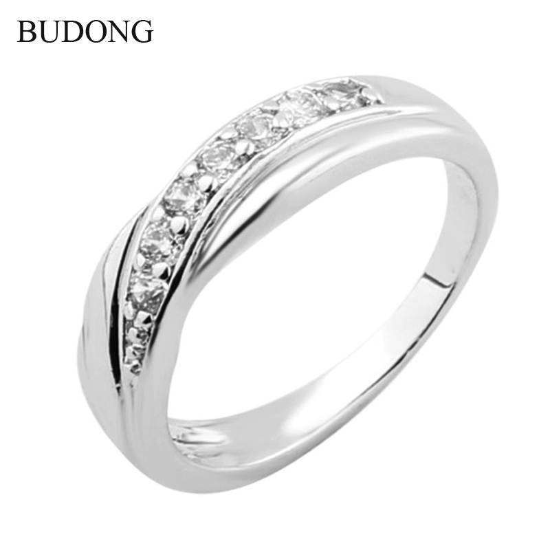 2016 Plain CZ Zircon White Gold Engagement Rings For Women Vintage Finger Rings For Women White